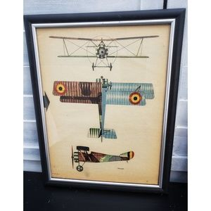 Framed vintage 1940s Flying Aces magazine page